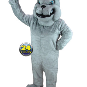 Gray Bulldog Mascot Uniform