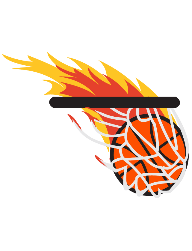 Flaming Basketball Temporary Tattoos