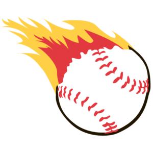 Flaming Baseball Temporary Tattoos