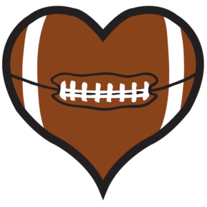 Heart Football Temporary Tattoos