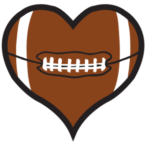 Football Heart Waterless Tattoos